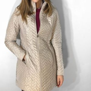 Chic silver metallic long coat, insulated, light